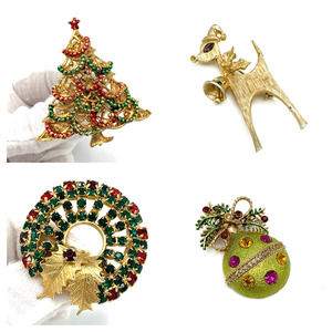 Lot of 4 Gold Rhinestone Christmas Brooches Pins